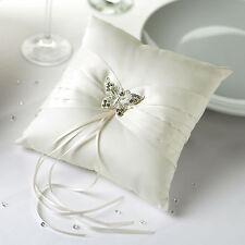 Ringkissen aus Satin für die Hochzeit 'Schmetterling' creme / ivory