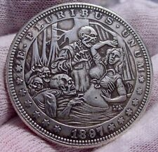 """RARE Series """"15"""" Coin-Clad Plated Toned- Dollar Size-Really Weird-Skull-Vintage"""