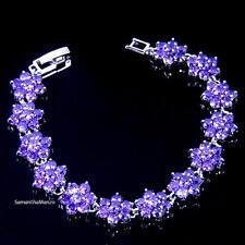 Purple Amethyst Cz Cubic Zirconia HALO Micro Pave Floral Flower Tennis Bracelet