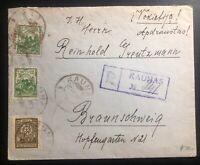 1923 Kaunas Lithuania Registered Cover To Brunswick Germany