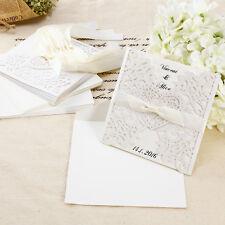 10pz. Partecipazioni Cuore Inviti Matrimonio Laser Cut Busta Fiocco Bianco Carta