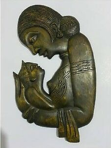100% Natural Wood Wall Decor Mother's Love Antique Looking -Sri Lankan Hand Made