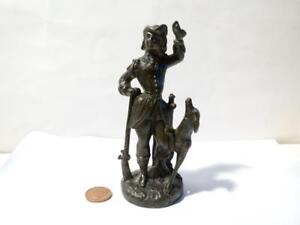 19thC Classic Statue Figure of Hunter & His Dog Lead Spelter  5 inch Tall