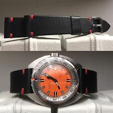 20 mm Black Matte Leather Strap bracelet  red stitches fo vintage watch chrono