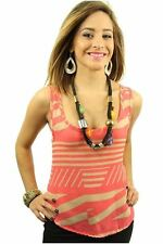 Le Fash - Beautiful Geometric Print Pink Tank Top with Lace Back Women's S, M, L