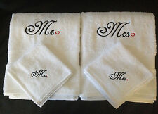 Personalised Embroidered Mr, Mrs Bath towel & face towel set