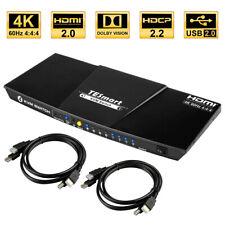 4 Port HDMI KVM Switch 4K@60Hz with Audio HDR USB 2.0 Auto-Scan IR Hot Key HDCP