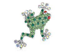 Opal Diamante Rhinestone Frog Brooch Pin Studded Peridot Fashion Ruby Red Eye