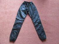 Black Elastic Leather Biker Motorcycle Motorbike Jogger Trousers