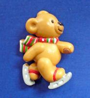Russ PIN Christmas BEAR ICE SKATING SKATES Vintage Holiday Brooch