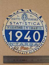 BOLLO ACI TASSA DI CIRCOLAZIONE MOTO BIANCHI FERRERA GUZZI GILERA EPOCA 1940