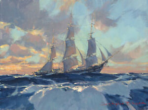 """Christopher BLOSSOM """" Hard on the Wind """" Giclee Canvas Ocean Boat Coastal"""