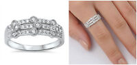 Sterling Silver 925 MICRO PAVE SET W/ ROUND DESIGN CLEAR CZ RING 8MM SIZES 5-10