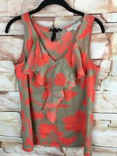 Ann Taylor Loft Sz M Women's Ruffled Sleeveless Blouse Brown Orange Floral B9*J
