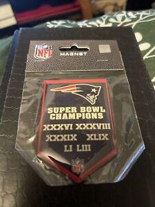 New England Patriots 6X Super Bowl Champion Banner Magnet