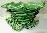 """McCoy ? Vase  Antique Green 5 x 3 """"  Marked With E"""