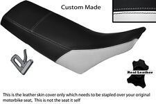 BLACK & WHITE CUSTOM FITS YAMAHA TW 125 200 LEATHER DUAL SEAT COVER
