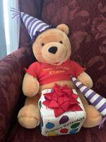 "Winnie the Pooh Plush 14"" Walt Disney Co Birthday Celebration Present Noisemaker"