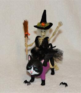 """Dollhouse Miniature Halloween Skeleton """"WITCH ON BLACK CAT w/WINGS""""-OOAK-Artist"""
