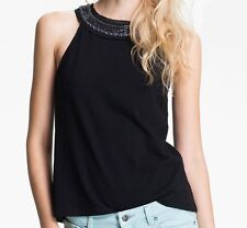 Free People NEW Lana's Knit Ombré Necklace Tank Top Shirt Black NWT $78 S