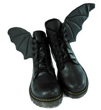 Black REAL Leather Bat Winged Unisex Boots - Pastel goth punk demonia iron fist