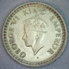 1943 B DOT India British Half Rupee Silver Coin XF Extra Fine 1/2 Rupee Coin