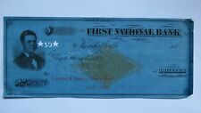 $50 1877 Kendallville Indiana IN Cancelled Check! First National Bank