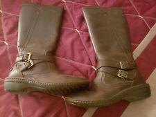 UGG AUSTRALIA WOMENS ROSEN MID CALF BOOT BROWN LEATHER SHEEP WOOL LINED 6 M