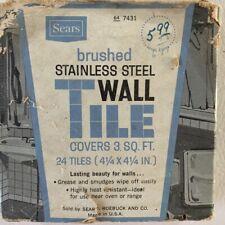 "NIB Sears 4 1/4"" x 4 1/4"" Brushed Stainless Steel Kitchen Backsplash 24 Tile PKG"