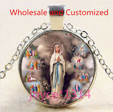Vintage Virgin Mary Cabochon Tibetan silver Glass Chain Pendant Necklace #5023