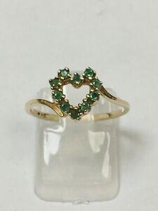 Lovely 10 Carat Yellow Gold FANCY EMERALD SET HEART Ring