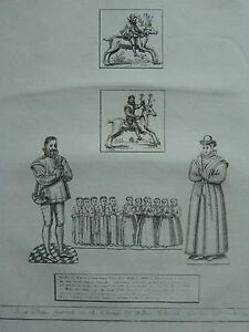 1755 DATED ANTIQUE PRINT ~ BRASS PRINTS CHANCEL OF WALTON CHURCH SURREY