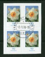 4 x Bund 2515 Blumen Viererblock VB a.MH gestempelt ETST BRD Selbstklebende used