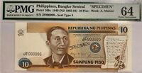 Foreign Banknote - PMG PHILIPPINES 1949 Specimen 10 Piso  - Choice UnC