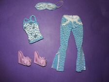 Monster High Doll Dead Tired Lagoona Outfit Pajamas Top Pants Slippers Eye Mask