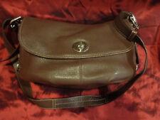 COACH Purse F15170 Legacy Brown Pebbled Leather Turnlock Shoulder Crossbody Bag