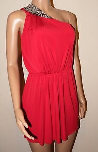 VICKY MARTIN red one shoulder party sequin beaded silver mini dress 8 10 BNWT