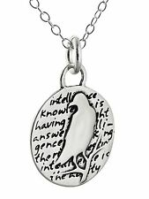 Silver - Handmade Inspirational Pendant New Raven Charm Necklace - 950 Sterling