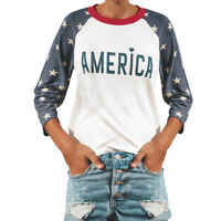 Women's Fashion Casual O-Neck Star Print Letter Blouse 3/4 Sleeve Top Shirt Tee