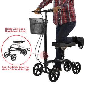 Clevr Medical Foldable Steerable Knee Walker Scooter with Basket, Black