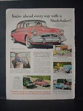 1955 Studebaker wins Mobilgas Economy Run Sweepstakes Vintage Print Ad 11380