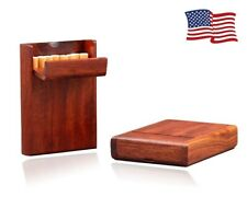 US Wooden Handmade Cigarette Case Holder Box Pocket Hold 10 Cigarettes