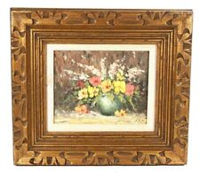 Still Life  Oil on 8 x 10 Canvas Board Signed Gold Gilt Frame