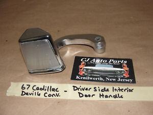 OEM 1967 67 Cadillac Deville CONVERTIBLE LEFT DRIVER INTERIOR CHROME DOOR HANDLE