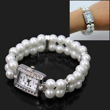 Women Fashion Faux Pearl Crystal Rhinestone Bracelet Wristwatch Bangle Watch New