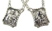 Silver Tone Our Lady of Mt Carmel with Sacred Heart Scapular Medals