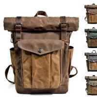 Water Resisant Vintage Waxed Canvas Backpack Fold-Over Satchel Laptop Bag Travel