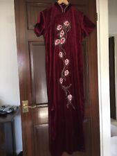 Ladies Chinese Style Long Dress Cheongsam Size L Burgundy Velvet