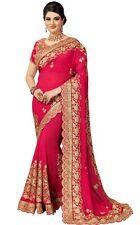 Wedding wear Designer Bollywood Silk Heavy Embroidery Work Saree for Women(K838)
