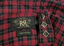 RALPH LAUREN Double RL RRL Diamond Snap Western Shirt Red/Black Slim Size Large
